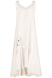 Ivory Asymmetrical Tie Up Dress by Meadow