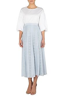 Sky Powder Blue Lace Skirt by Meadow