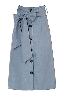Dusty blue buttoned skirt