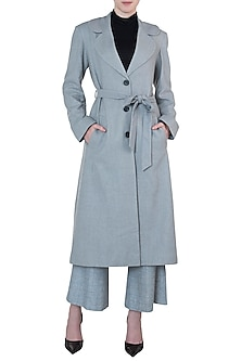 Dusty blue tweed coat by Meadow