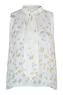 Pale yellow printed top