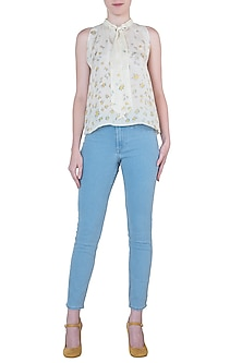 Pale yellow printed top by Meadow