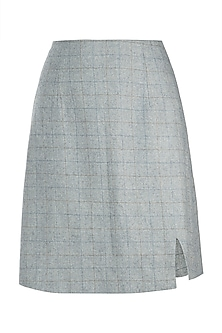 Powder blue front slit skirt by Meadow