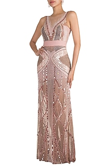 Blush Pink Embellished Gown by Gavin Miguel