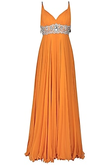 Orange Embroidered Empire Line Gown