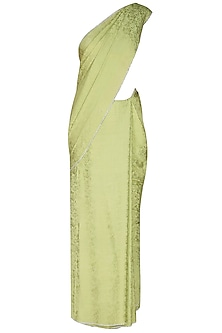 Olive Green Silver Crystal Line Jacquard Saree With Matching Olive Green Blouse
