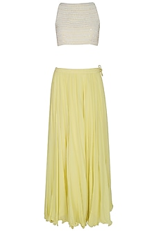 Lemon Yellow Pleated Skirt With Pearl Embellished Crop Top Blouse Set