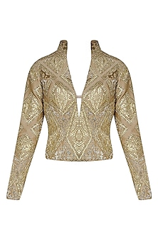Gold Geometrical Gota Patti Embroidered Jacket