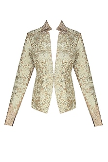 Gold Floral Threadwork Embroidered Jacket