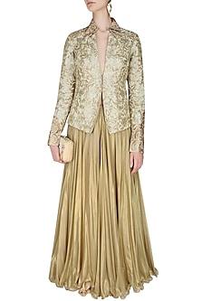 Gold Floral Threadwork Embroidered Jacket by Manav Gangwani