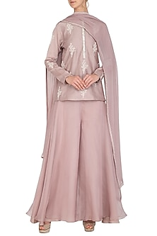 Mauve Embroidered Kurta Set by Mishru
