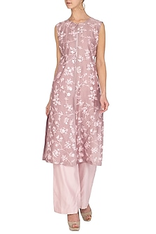 Mauve Embroidered Kurta With Pants by Mishru