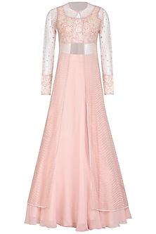 Blush Pink Embroidered Jacket Lehenga Set by Mishru