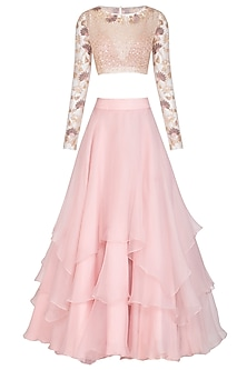 Blush Pink Embroidered Crop Top WIth Tiered Skirt by Mishru