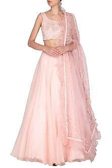 Blush Pink Embroidered Lehenga Set by Mishru