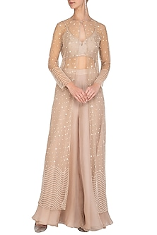 Beige Embroidered Jacket With Bustier & Palazzo Pants by Mishru