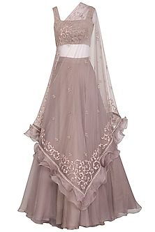 Mauve Crop Top With Lehenga Skirt & Embroidered Cape by Mishru