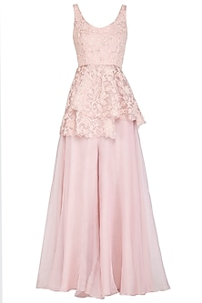 Blush Pink Embroidered Peplum Top With Palazzo Pants by Mishru