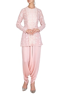 Blush Pink Embroidered Jacket With Harem Pants by Mishru