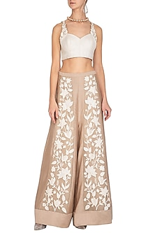 White Textured & Embroidered Crop Top With Beige Palazzo Pants by Mishru