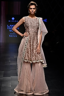Mauve Pink Pearl Sharara Set by Mishru