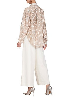 Beige Embroidered Shirt With White Culotte Pants by Mishru