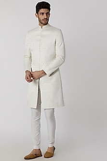 Ivory Viscose Embroidered Sherwani by Mitesh Lodha