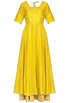 Yellow Embroidered Anarkali With Dupatta by Mint Blush