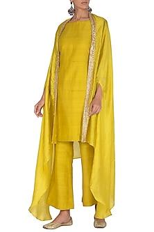 Deep Yellow Embroidered Kurta Set by Mint Blush