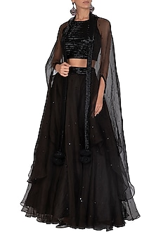 Black Embroidered Lehenga Set by Mint Blush