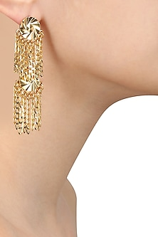 Gold Finish Chain Tassel Two Layer Earrings by Micare