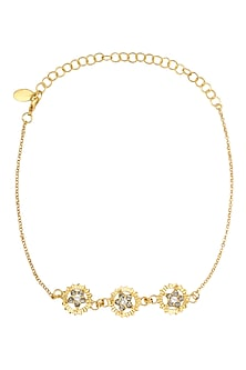 Gold Finish Flower 3 Motifs Choker by Micare