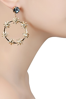 Gold Finish Star Round Earrings