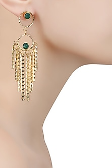 Gold Finish Emerald Stone Round Layered Earrings by Micare