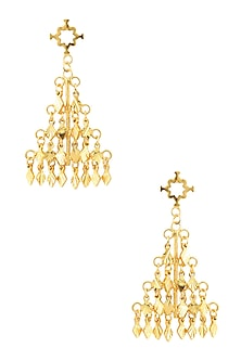 Gold Finish Pyramid Shape Earrings by Micare