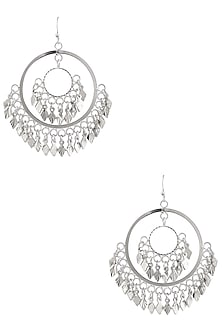 Silver Finish Petal Bunch Round Earrings by Micare