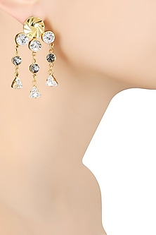 Gold Finish White and Grey Swarovski Crystal Earrings