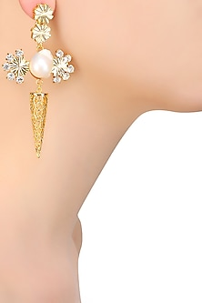 Gold Plated Swarovski Crystal and Pearl Flower Earrings by Micare