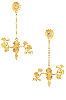 Gold Plated Swarovski Crystal Flower Earrings by Micare