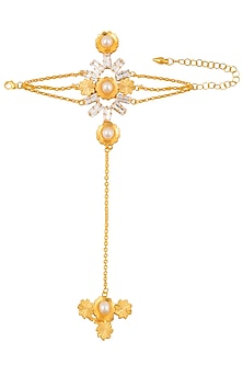 Gold Plated Swarovski Crystal and Pearl Hand Hanrness by Micare