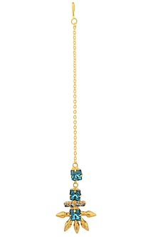 Gold Plated Blue Swarovski Crystal and Bullet Maang Tikka by Micare