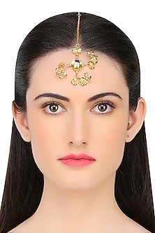 Gold Plated Swarovski Crystal Flower Maang Tikka by Micare