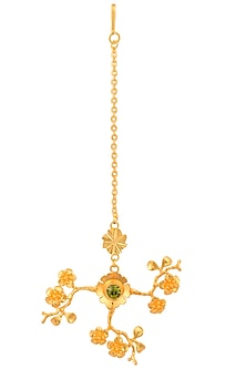 Gold Plated Olive Swarovski Crystal Flower Maang Tikka by Micare