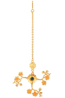 Gold Plated Emerald Swarovski Crystal Flower Maang Tikka by Micare