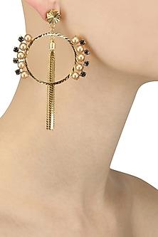 Gold Plated Pearl Tassel Chains Hoop Earrings