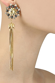 Gold Plated Tassel Chains Dangler Earrings by Micare