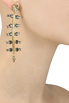 Gold Plated Diamonds Encrusted Dangler Earrings by Micare