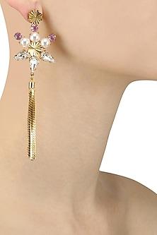 Gold Plated Swarovski Crystal Tassel Earrings