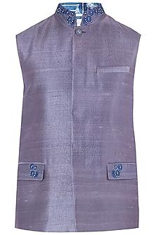 Purple Embroidered Waistcoat by Mitesh Lodha