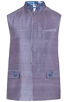Purple Embroidered Waistcoat
